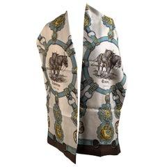 Hermes Paris Vintage Silk Oblong Scarf Cuireries 1963 De La Perierre