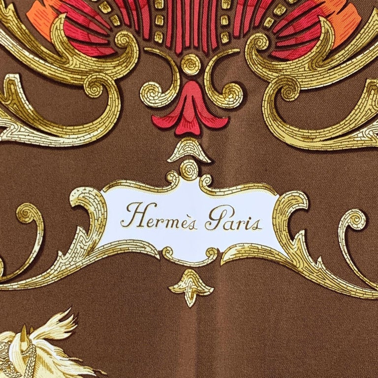 Brown Hermes Paris Vintage Silk Scarf Cheval Turc 1969 Christiane Vauzelles For Sale