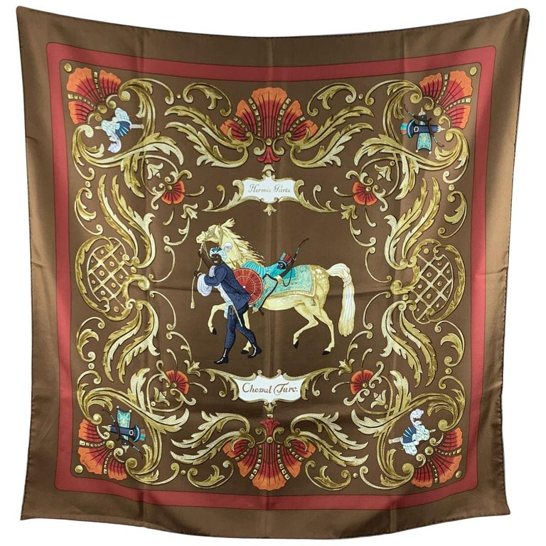 Hermes Paris Vintage Silk Scarf Cheval Turc 1969 Christiane Vauzelles For Sale