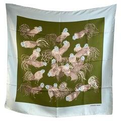 Hermes Paris Vintage Silk Scarf Jeunes Coqs Madame La Torre 1966
