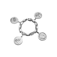 Hermes Paris Vintage Sterling Silver Nautical Charm Bracelet