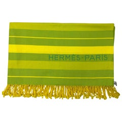 Hermès Paris Yellow and Green Cotton Throw w/ Box