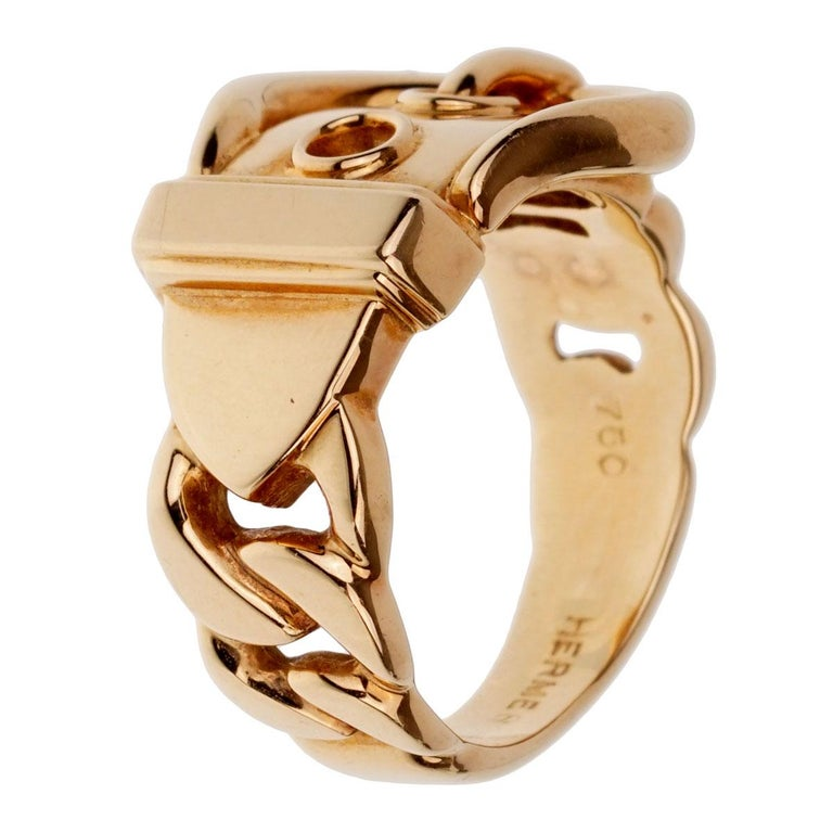 Women's Hermes Paris Yellow Gold Belt Buckle Ring For Sale