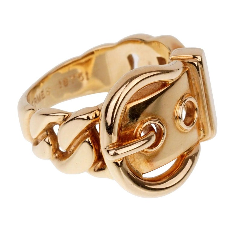 Hermes Paris Yellow Gold Belt Buckle Ring For Sale