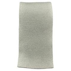 HERMES Pastel Green Woven Silk Tie