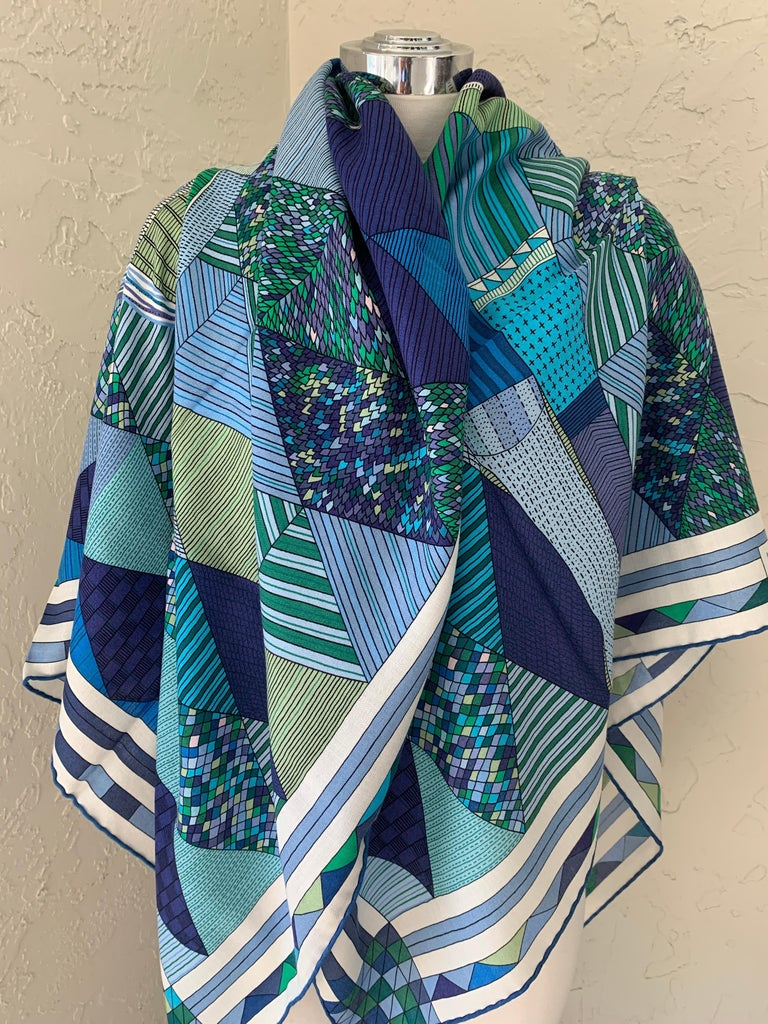 Hermes Cashmere Shawl/Scarf Patchwork Horse Shawl Designed by Nigel Peake     Cashmere shawl large 140cmShawl in cashmere and silk with hand-rolled edges (70% cashmere, 30 % silk).  Printed on our iconic cashmere and silk material, this giant scarf