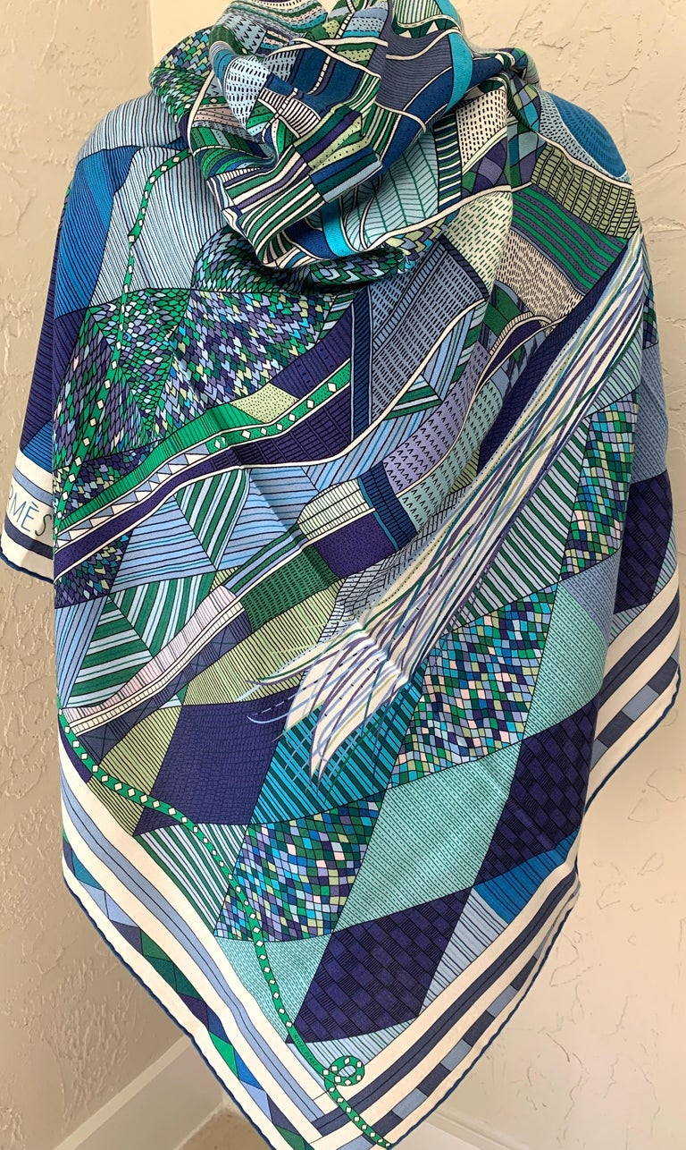 Hermes Patchwork Horse Cashmere Shawl 140 Nigel Peake New Turquoise Green In New Condition For Sale In Delray Beach, FL
