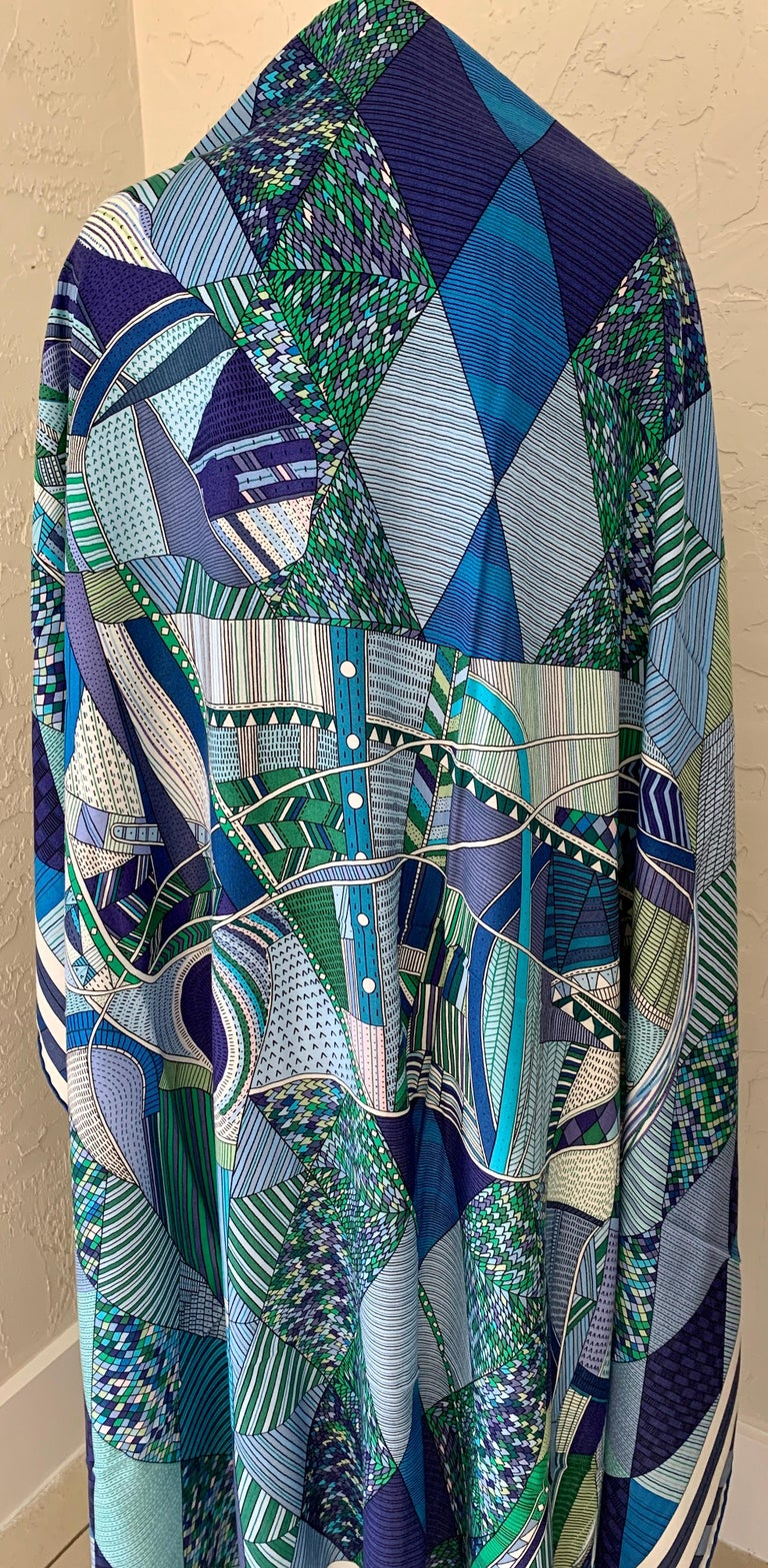 Women's or Men's Hermes Patchwork Horse Cashmere Shawl 140 Nigel Peake New Turquoise Green For Sale
