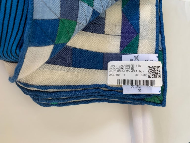 Hermes Patchwork Horse Cashmere Shawl 140 Nigel Peake New Turquoise Green For Sale 2