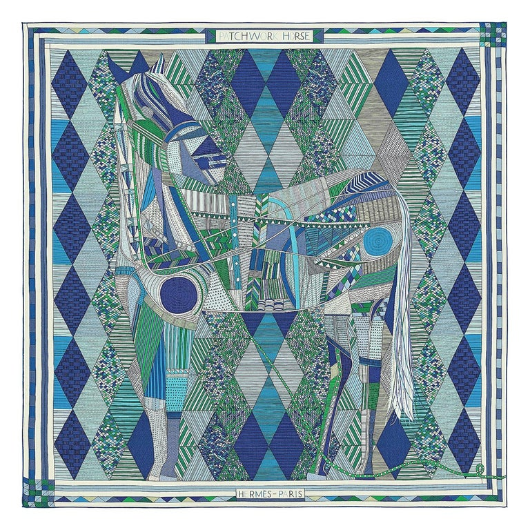 Hermes Patchwork Horse Cashmere Shawl 140 Nigel Peake New Turquoise Green For Sale
