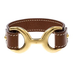 Hermes Pavane Brown Leather Gold Plated Bracelet L
