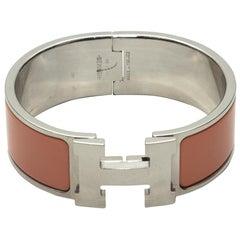 Hermes Peach & Silver Palladium Clic Clac Bracelet