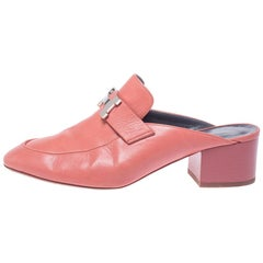 Hermes Peachy Pink Leather Trocadero Mule Sandals Size 36
