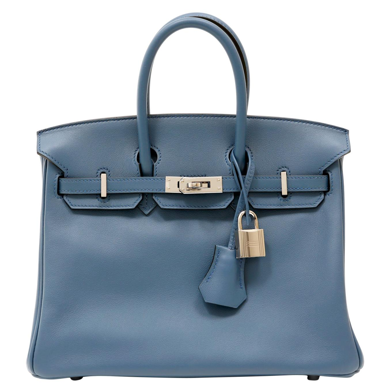 Hermès Pebble Blue Swift Leather 25 cm Birkin Bag