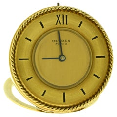 Hermes Pendulette Clipper Travel Desk Clock, 18 Karat Solid Yellow Gold