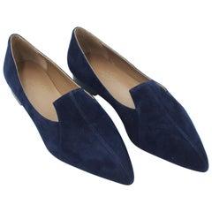 Hermès perfect moccasin in dark blue velvet leather _ size 35