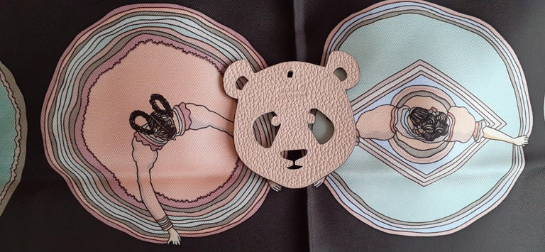 Hermès Petit H Bag or Shoe Charm Scarf Ring Panda Head Bicolor Ling Pink Brown  For Sale 8