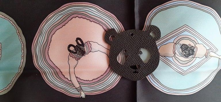Hermès Petit H Bag or Shoe Charm Scarf Ring Panda Head Bicolor Ling Pink Brown  For Sale 9
