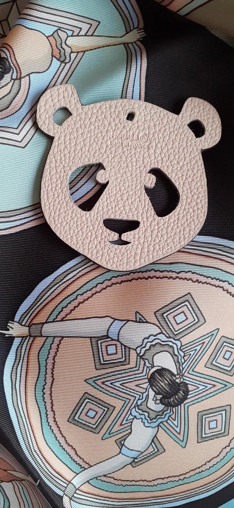 Hermès Petit H Bag or Shoe Charm Scarf Ring Panda Head Bicolor Ling Pink Brown  For Sale 10