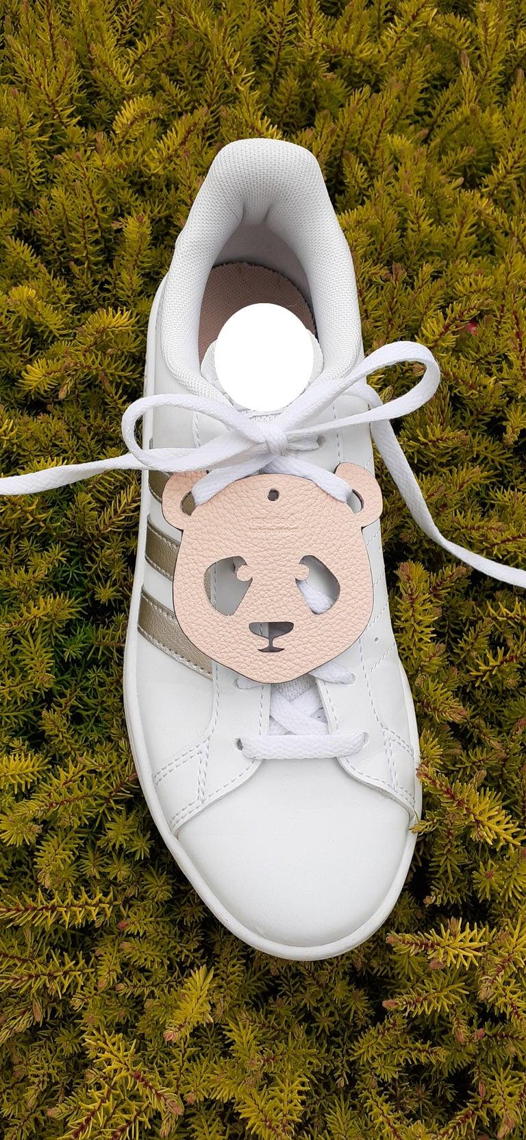 Hermès Petit H Bag or Shoe Charm Scarf Ring Panda Head Bicolor Ling Pink Brown  For Sale 12
