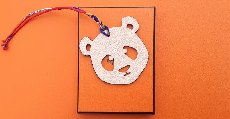 Hermès Petit H Bag or Shoe Charm Scarf Ring Panda Head Bicolor Ling Pink Brown  For Sale 13