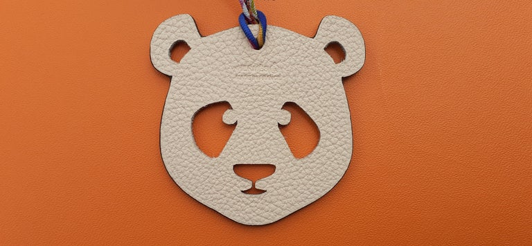 Hermès Petit H Bag or Shoe Charm Scarf Ring Panda Head Bicolor Ling Pink Brown  In New Condition For Sale In ., FR