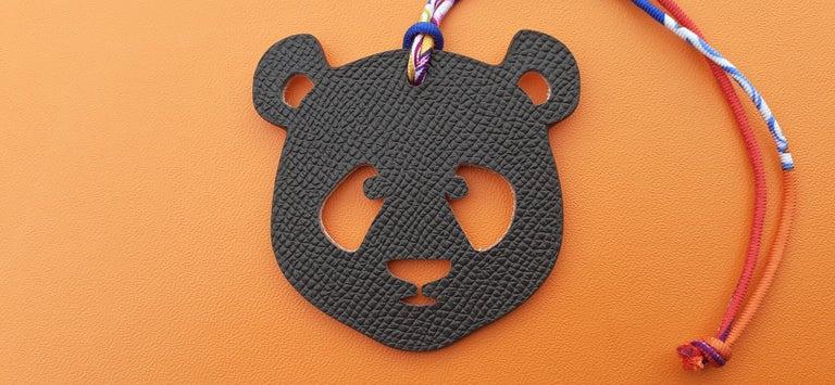 Women's Hermès Petit H Bag or Shoe Charm Scarf Ring Panda Head Bicolor Ling Pink Brown  For Sale