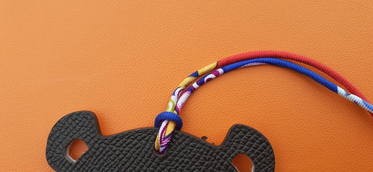 Hermès Petit H Bag or Shoe Charm Scarf Ring Panda Head Bicolor Ling Pink Brown  For Sale 1