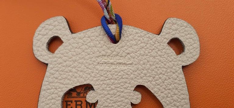 Hermès Petit H Bag or Shoe Charm Scarf Ring Panda Head Bicolor Ling Pink Brown  For Sale 2