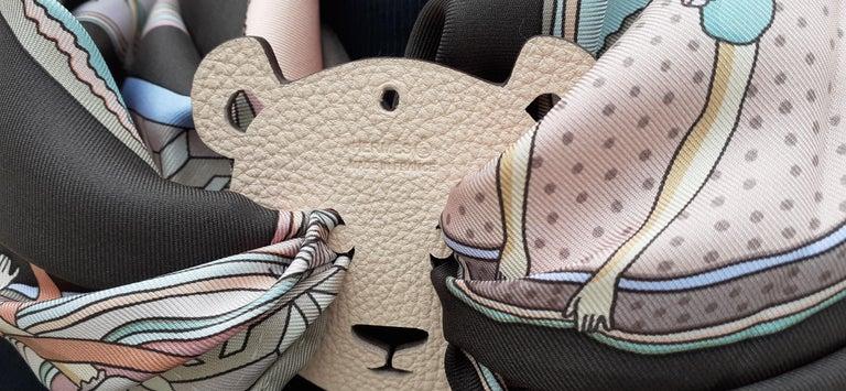 Hermès Petit H Bag or Shoe Charm Scarf Ring Panda Head Bicolor Ling Pink Brown  For Sale 4