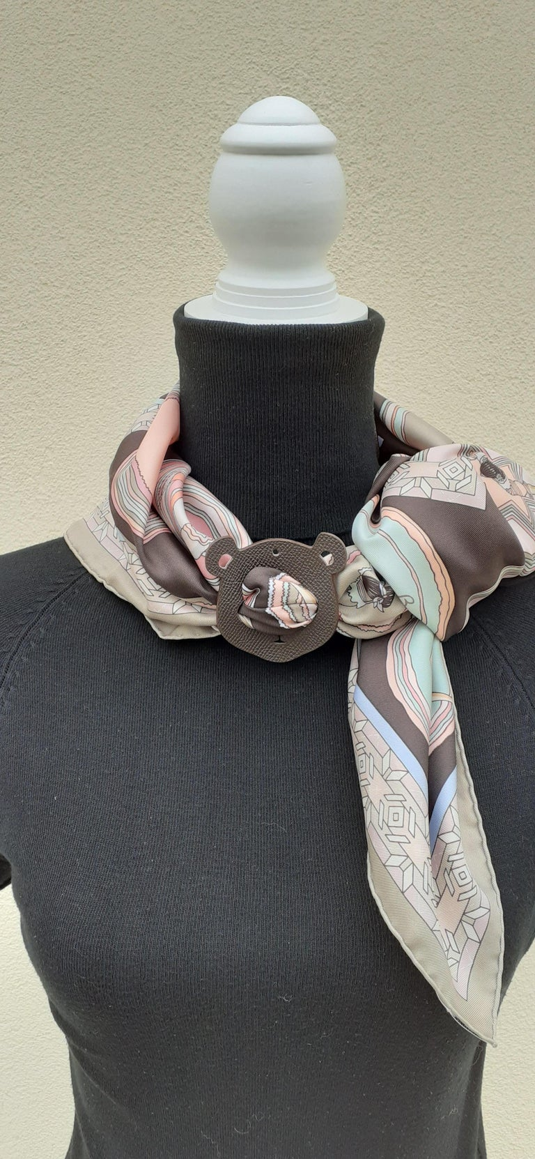 Hermès Petit H Bag or Shoe Charm Scarf Ring Panda Head Bicolor Ling Pink Brown  For Sale 5