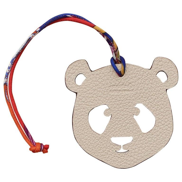 Hermès Petit H Bag or Shoe Charm Scarf Ring Panda Head Bicolor Ling Pink Brown  For Sale