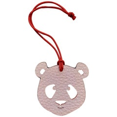 Hermès Petit H Bag or Shoe Charm Scarf Ring Panda Head Bicolor Pink Orange