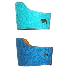 Hermes Petit H Turquoise Leather Blue Cupholders
