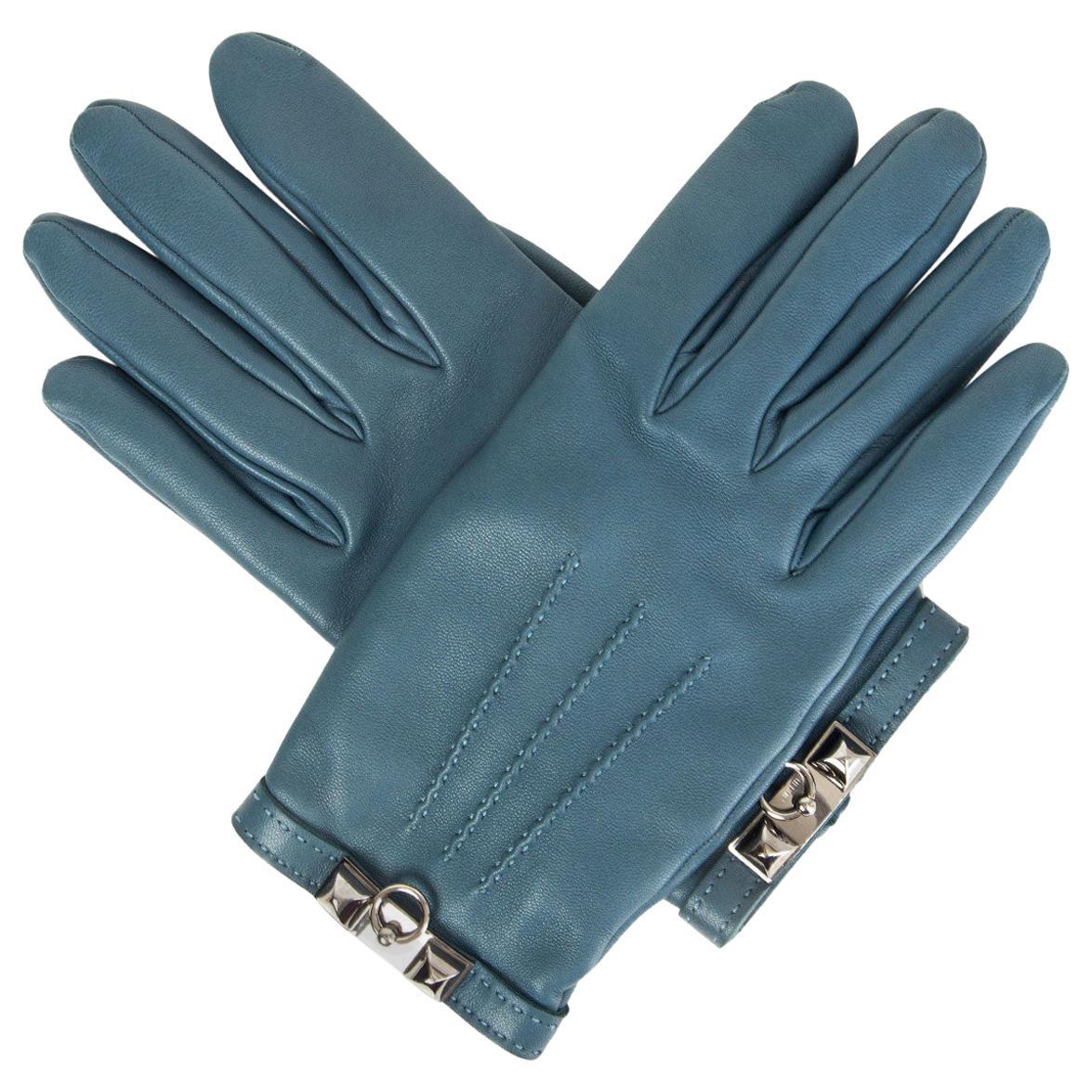 HERMES petrol blue leather cashmere line COLLIER DE CHIEN Gloves 8