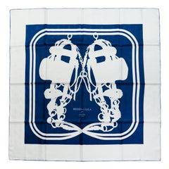 Hermes Petrole/Blanc Brides de Gala Tattoo Bee Print Silk Scarf