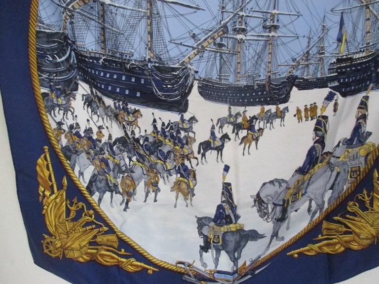 Black Hermes Philippe Ledoux Paris Napoleon Marine et Cavalerie blue Silk Scarf  For Sale