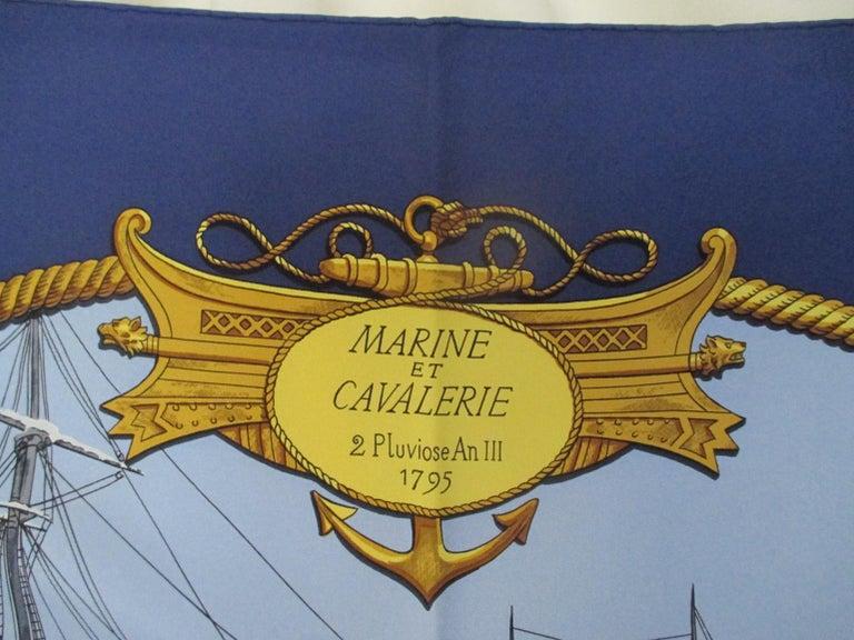 Women's or Men's Hermes Philippe Ledoux Paris Napoleon Marine et Cavalerie blue Silk Scarf  For Sale