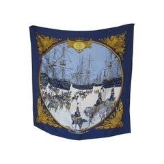 Hermes Philippe Ledoux Paris Napoleon Marine et Cavalerie blue Silk Scarf