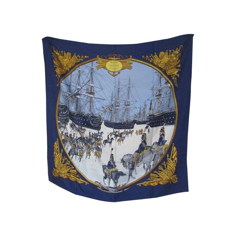 Hermes Philippe Ledoux Paris Napoleon Marine et Cavalerie blue Silk Scarf  For Sale