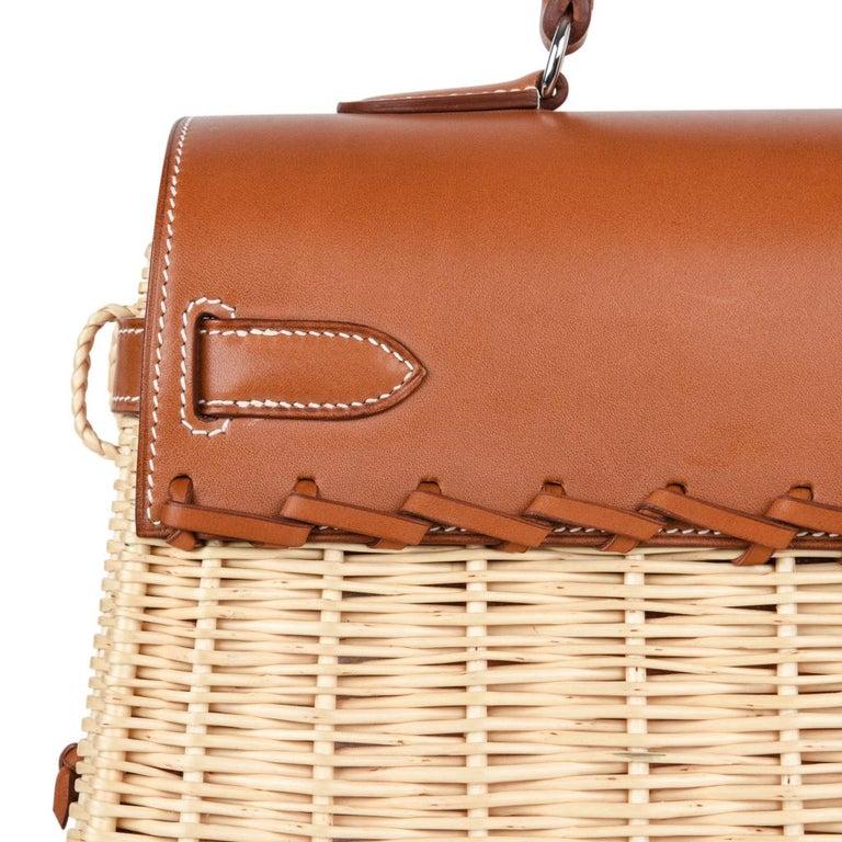 Hermes Picnic Kelly Bag 35 Wicker/Osier Palladium Hardware For Sale 5