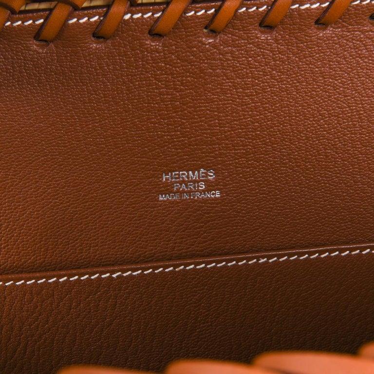 Hermes Picnic Kelly Bag 35 Wicker/Osier Palladium Hardware For Sale 8