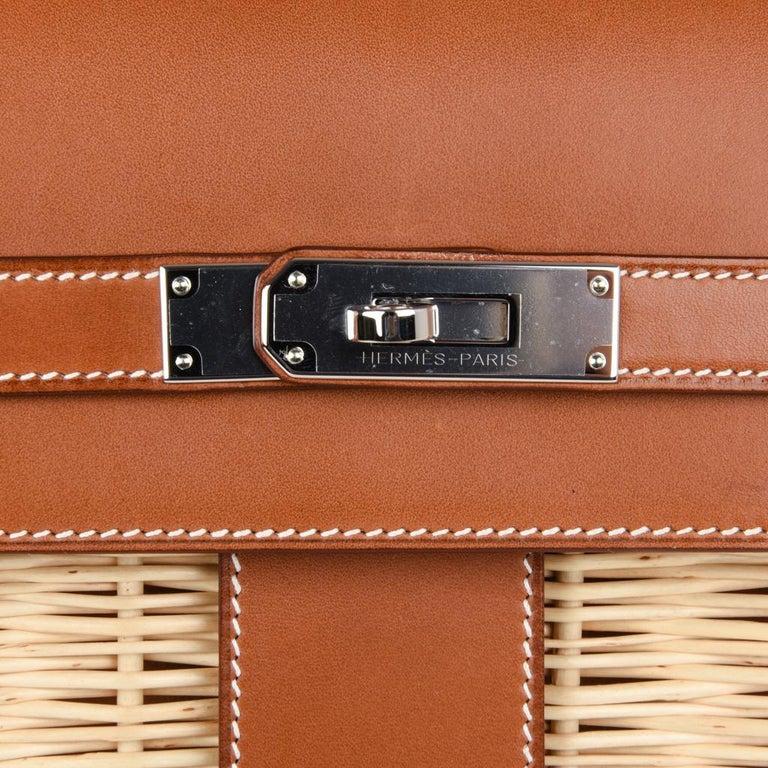 Beige Hermes Picnic Kelly Bag 35 Wicker/Osier Palladium Hardware For Sale