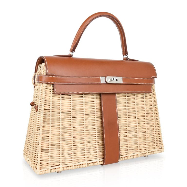Hermes Picnic Kelly Bag 35 Wicker/Osier Palladium Hardware In New Condition For Sale In Miami, FL