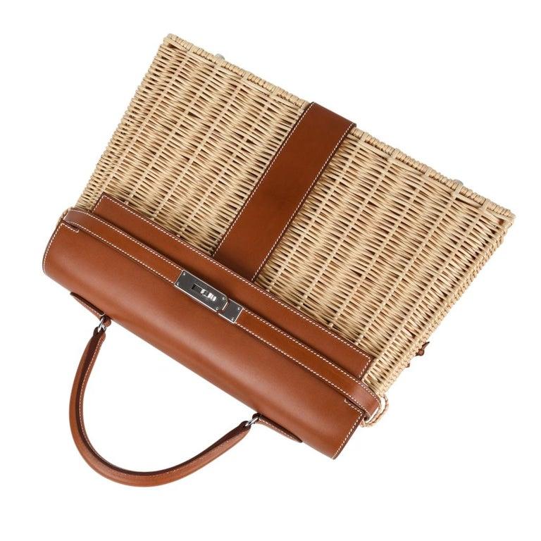 Women's Hermes Picnic Kelly Bag 35 Wicker/Osier Palladium Hardware For Sale