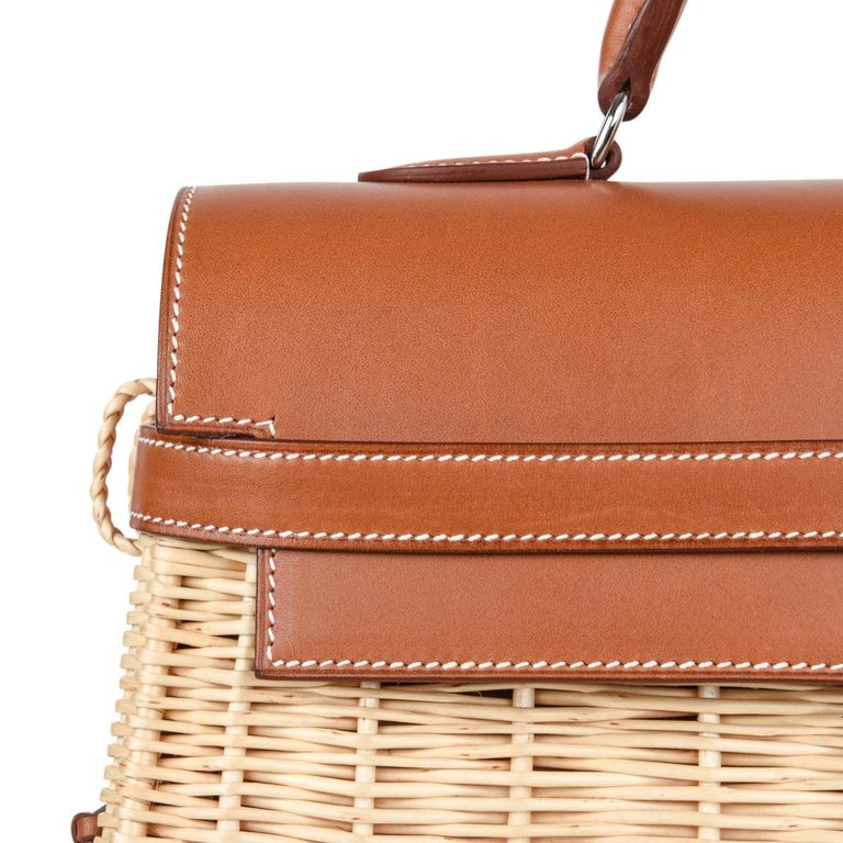 Hermes Picnic Kelly Bag 35 Wicker/Osier Palladium Hardware For Sale 3