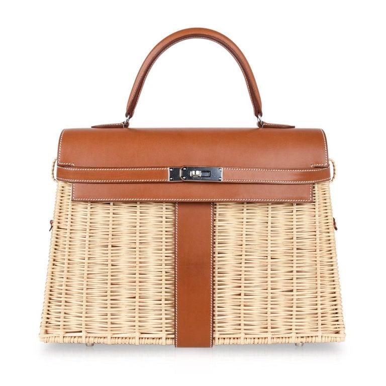 Hermes Picnic Kelly Bag 35 Wicker/Osier Palladium Hardware For Sale 4