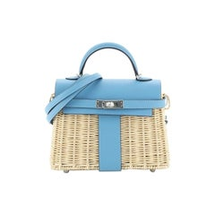 Hermes Picnic Kelly Handbag Bleu du Nord Swift and Wicker with Palladium Hardwar