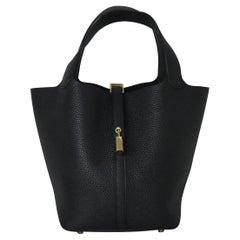 Hermes Picotin 18 Lock Bag Gold Hardware Black