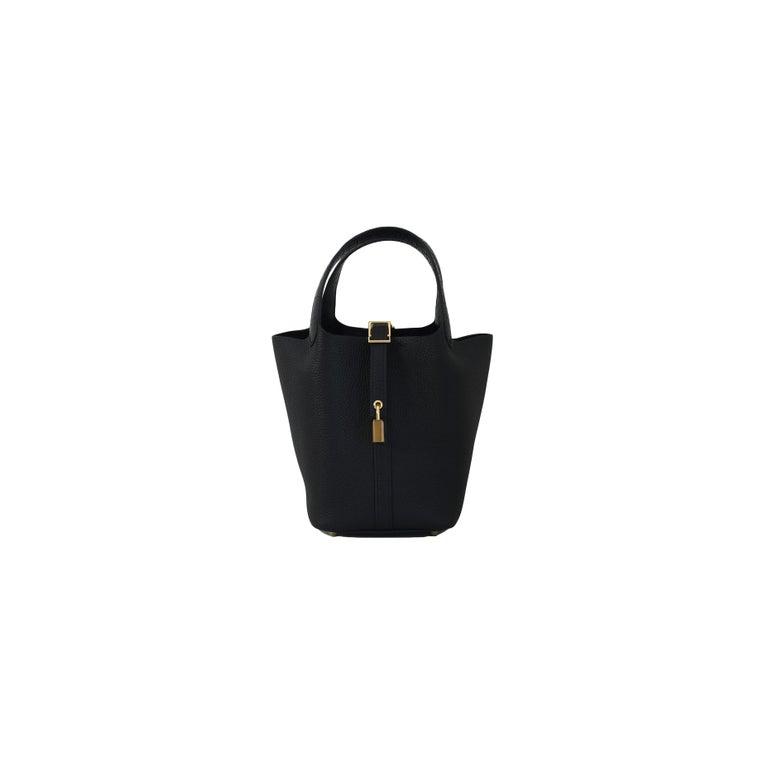 Women's or Men's Hermes Picotin 18 Lock Bag Touch Gold Hardware Black For Sale
